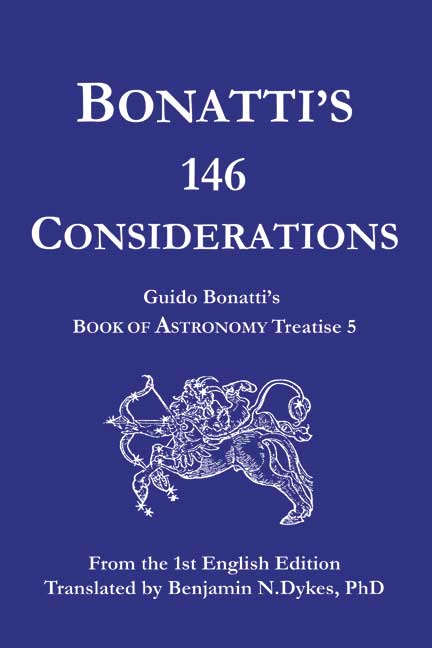 astrology, traditional astrology, medieval astrology, Guido Bonatti, Bonatti's 146 Considerations